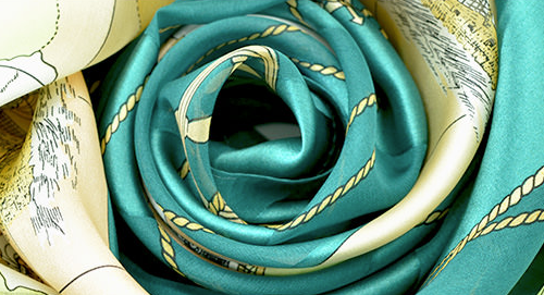 シルク100%スカーフ 日本製の横浜スカーフ