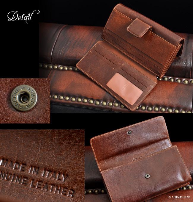イタリア製ハンドメイドレザーの長財布 詳細