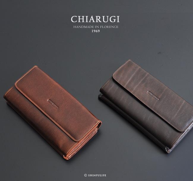 イタリア製ハンドメイドレザーの長財布 モデル画像 ダークブラウン