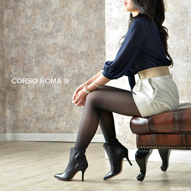 一流の品質CORSOROMA9(コルソローマ9)イタリア製レザーブーティ ピンヒール 9cm|本革 ブーティー アンクルブーツ ハイヒール フォーマル ビジネス 痛くない 歩きやすい 疲れにくい きれいめ セレブ ブラック 黒 送料無料 モデル写真3