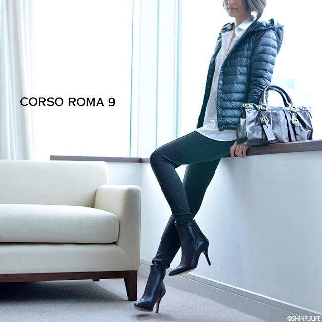 一流の品質CORSOROMA9(コルソローマ9)イタリア製レザーブーティ ピンヒール 9cm|本革 ブーティー アンクルブーツ ハイヒール フォーマル ビジネス 痛くない 歩きやすい 疲れにくい きれいめ セレブ ブラック 黒 送料無料 モデル写真4