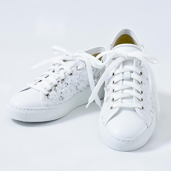 白 スニーカー 厚底 靴 本革 スパンコール