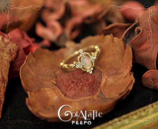 Cotalatte peepo(コタラッテ・ピーポー)/オパール・ゴールドリング/アンティーク香るミステリアスなリング/ゴールド/指輪/ダイヤ/ダイヤモンドリング/プレゼントに/ジュエリー/アーカー/スタージュエリー/4℃