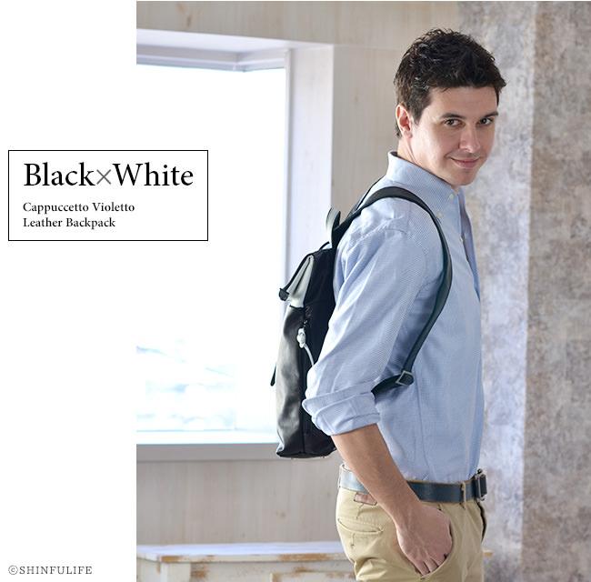 レザー リュック Cappuccetto Violetto  カプチェット ヴィオレット Drop ドロップ メンズ  A4 ブランド おしゃれ リュックサック ビジネス 通勤 通学 大学生 人気 黒 ブラック 大容量 革 送料無料 モデル画像 ブラック×ホワイト