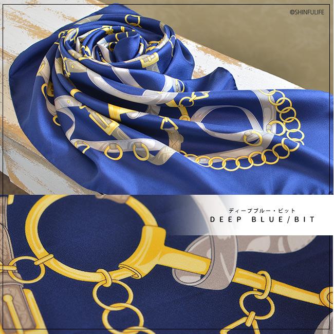 馬具柄 シルクツイル フレイコモ スカーフ 正方形 大判 90x90 シルク100% イタリア製 シルクスカーフ 巻き方や結び方を紹介 敬老の日 母の日 誕生日 プレゼント freycomo ディープブルー・ビット