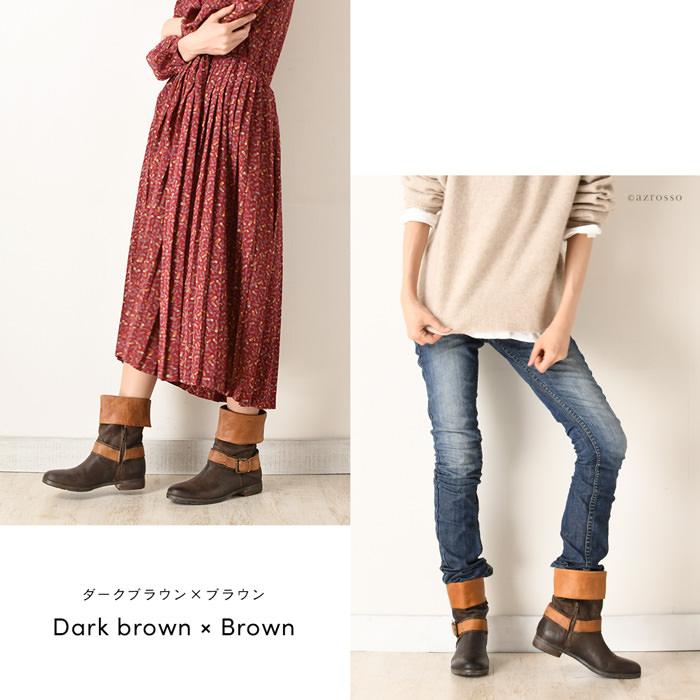 HANGAR【ハンガー】クールな甘さと、ヴィンテージ感がお洒落なエンジニア タイプ のショートブーツ。/エンジニアブーツ/ワークブーツ/ショートブーツ/エンジニア/ショート/ビンテージ/ブーツ/ブラック/黒/ブラウン/茶/レディース/シューズ/インポート/本革/レザー/靴 モデル写真:ダークブラウン×ブラウン