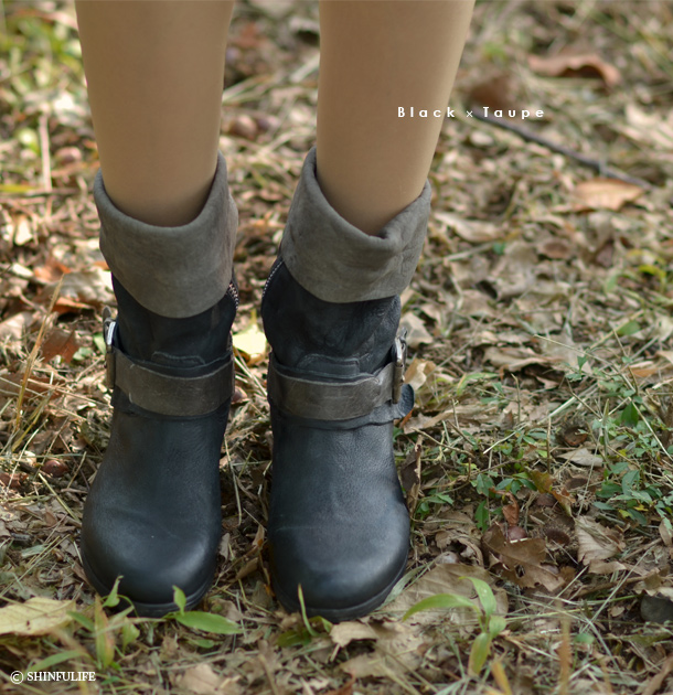 HANGAR【ハンガー】クールな甘さと、ヴィンテージ感がお洒落なエンジニア タイプ のショートブーツ。/エンジニアブーツ/ワークブーツ/ショートブーツ/エンジニア/ショート/ビンテージ/ブーツ/ブラック/黒/ブラウン/茶/レディース/シューズ/インポート/本革/レザー/靴 モデル写真:ブラック×トープ