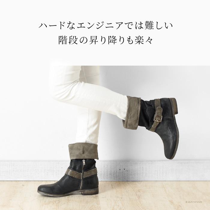 脱ぎ履きに便利な、ジッパーが内側に付いています。丸洗いという大胆なダメージ加工にしかできない革のくったりとしたヨレとシワがリラックスしたビンテージ感を作ります。