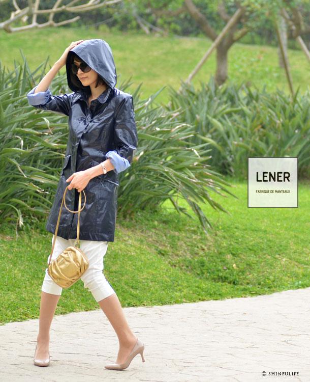 LENER/レネル/WIMEREY トレンチコート・レディース/フード付Aラインコート/おしゃれなレインコートとして、スプリングコートだけでなく梅雨にも/超撥水/ロング/自転車/ゴルフ/レネール/ルネ モデル写真 マリンネイビー(紺)