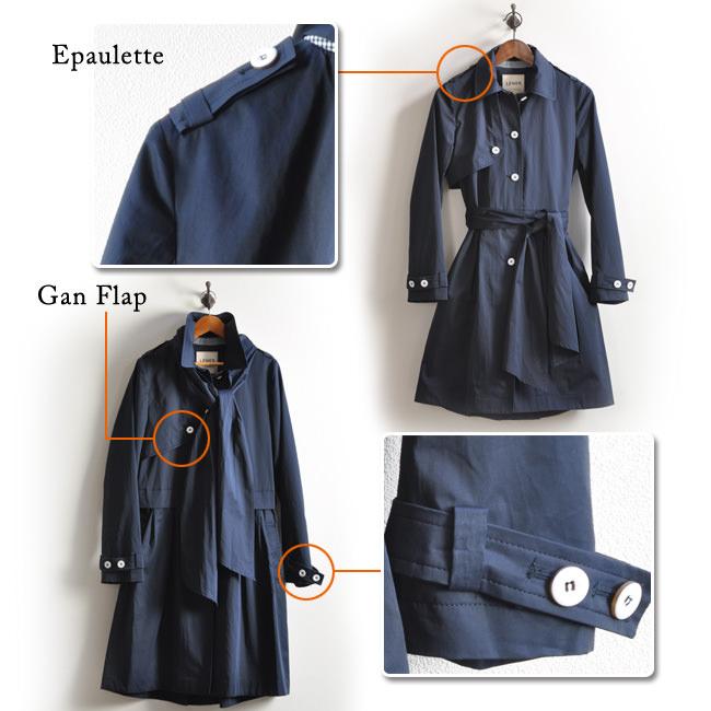 軍用コートから始まったコートらしく、エポレットと呼ばれる肩飾りや、銃を撃つときに肩を守るガンフラップなど、トレンチらしさは個性として残しつつ、オシャレ感や、美しさ、可愛さ、使いやすさ、着やすさといった、現代の女性が求めるデザインを追求。