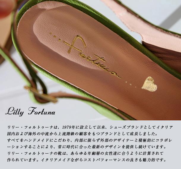 リリー・フォルトゥーナは、1979年に設立して以来、シューズブランドとしてイタリア国内および海外の中流から上流階級の顧客をもつブランドとして成長しました。すべてをハンドメイドにこだわり、内部に限らず外部のデザイナーと積極的にコラボレーションすることにより、常に時代に合った最新のデザインを提供し続けています。リリー・フォルトゥーナの靴は、あらゆる年齢層の女性達に合うように計算されて作られています。イタリアメイドながらコストパフォーマンスの良さも魅力的です。