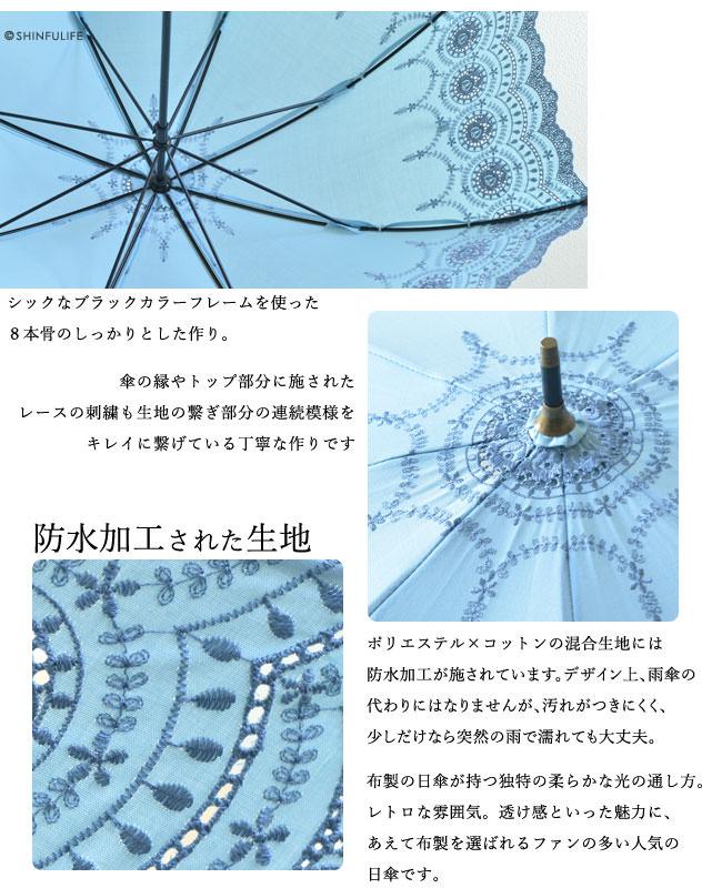 ポリエステル×コットンの混合生地には防水加工が施されています。デザイン上、雨傘の代わりにはなりませんが、汚れがつきにくく、少しだけなら突然の雨で濡れても大丈夫。布製の日傘が持つ独特の柔らかな光の通し方。レトロな雰囲気。透け感といった魅力に、あえて布製を選ばれるファンの多い人気の日傘です。