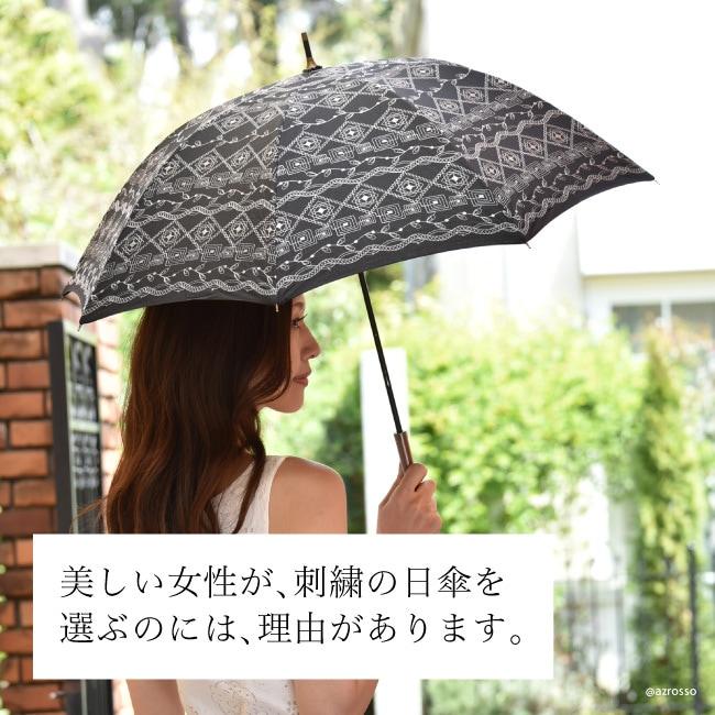 優美な日傘ブランドMalagavaria(マラガバリア)トライバル柄の布製×レース刺繍が美しい日傘「エスニックボーダー」