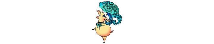 傘をさして振り返っているマラガちゃんのイラスト
