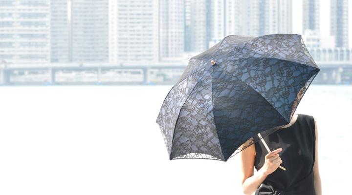レース刺繍の日傘のモデル写真