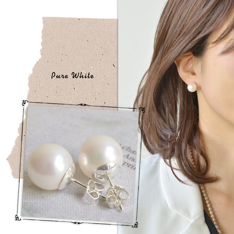 一粒 真珠 ピアス 12mm パール 大粒 Perles de Cotalatte パールドコタラッテ カラー ピンク ゴールド ホワイト レディース キャッチ ジュエリー アクセサリー 耳飾り 結婚式 ウエディング 送料無料 モデル写真:ライト ピンク