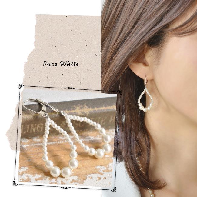 パール ティアドロップ フック ピアス 真珠 Perles de Cotalatte パールドコタラッテ<br />カラー ゴールド ホワイト レディース ジュエリー アクセサリー 耳飾り 結婚式 ウエディング  モデル写真:ピュア ホワイト