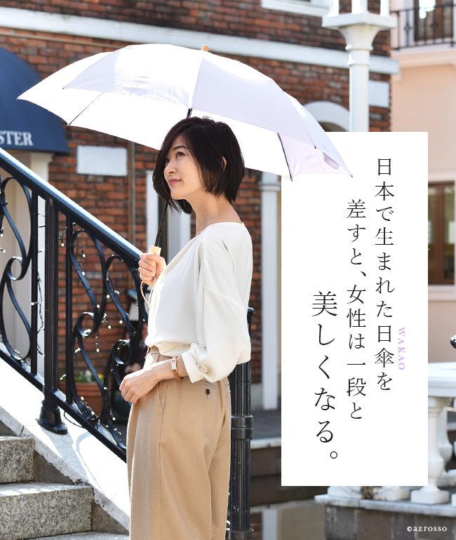 日本製ブランドワカオ(wakao)の布製晴雨兼用折り畳み日傘