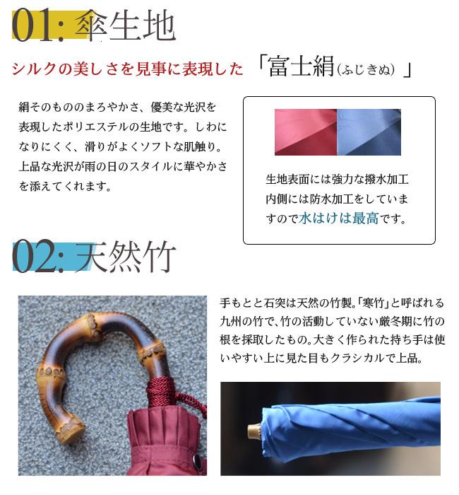 傘生地はシルクの美しさを見事に表現した「富士絹(ふじきぬ)」手もと、石突は天然の竹製