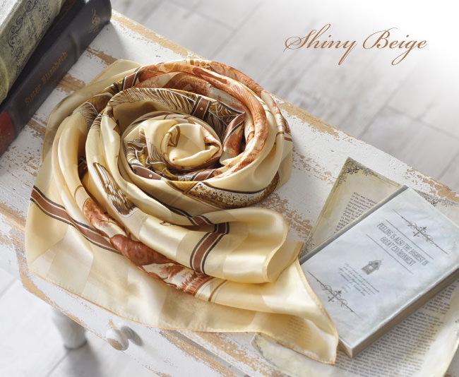 横浜 スカーフ シルク ハンティング サテン 日本製 | シャイニーベージュ