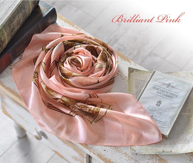 横浜 スカーフ シルク ハンティング サテン 日本製 |  ブリリアントピンク