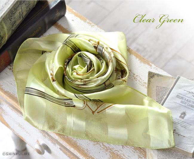横浜 スカーフ シルク ハンティング サテン 日本製 |  クリアグリーン