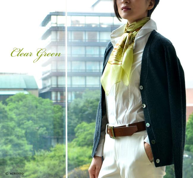 横浜 スカーフ シルク ハンティング サテン 日本製 |  クリアグリーン モデル写真