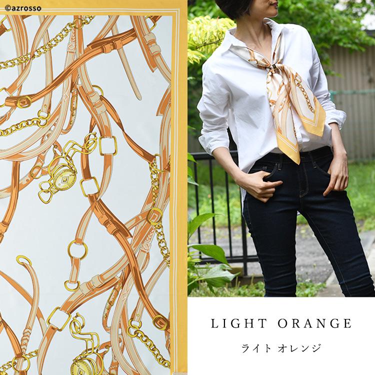 横浜スカーフ クロスベルト シルクツイル エルメス柄(馬具柄) 88×88 正方形タイプ 日本製 高級シルク 巻き方や結び方を写真で掲載。 敬老の日・母の日・誕生日プレゼントにも ミルクベージュ