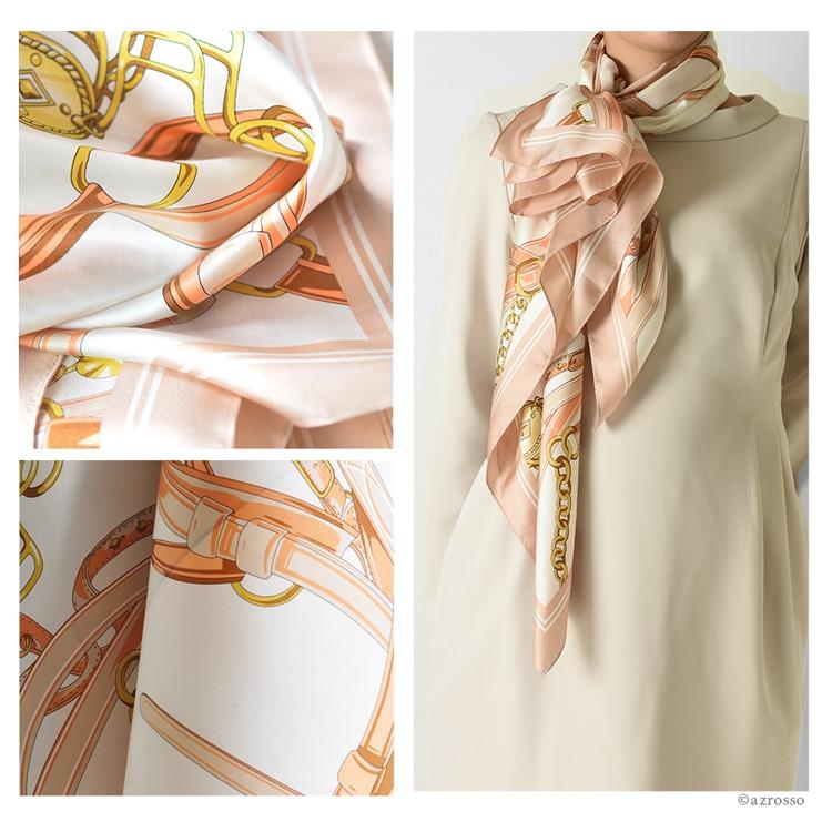 横浜スカーフ クロスベルト シルクツイル エルメス柄(馬具柄) 88×88 正方形タイプ 日本製 高級シルク 巻き方や結び方を写真で掲載。 敬老の日・母の日・誕生日プレゼントにも ブラックパープル