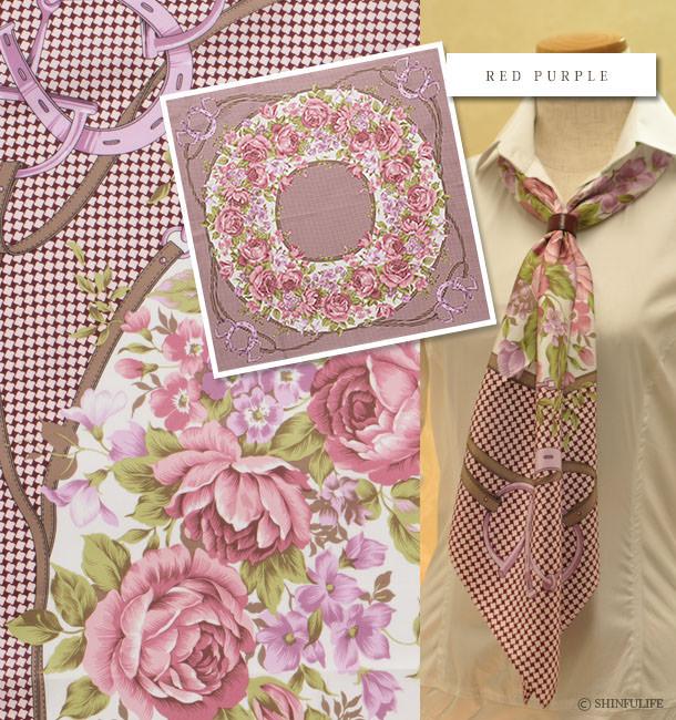 高級シルク100% 横浜スカーフ 千鳥ブーケ シルクツイル  88×88  大判 正方形タイプ 巻き方や結び方を写真で掲載 バッグ 帽子 ベルト代りに 敬老の日・母の日・誕生日プレゼントにも 日本製 レッドパープル