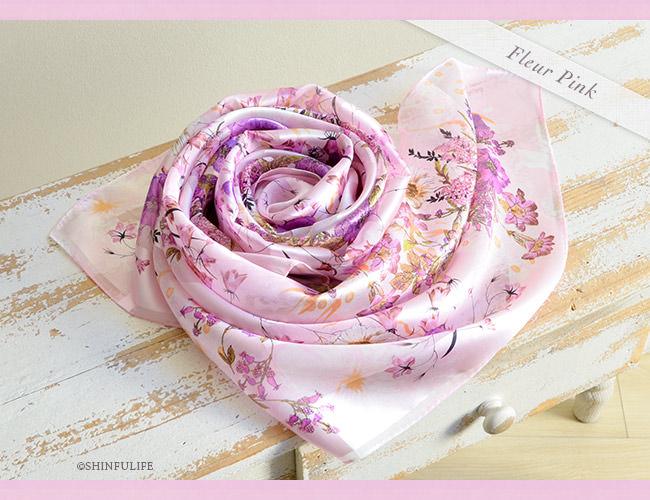 シルク スカーフ サテン 日本製 88x88 大判  正方形 プレスフラワー 花柄 フラワー シルク100% ブランド バッグ 帽子 ベルト 横浜スカーフ プレゼント 母 母の日 敬老の日 女性 誕生日 義母 義理の母 フルールピンク1