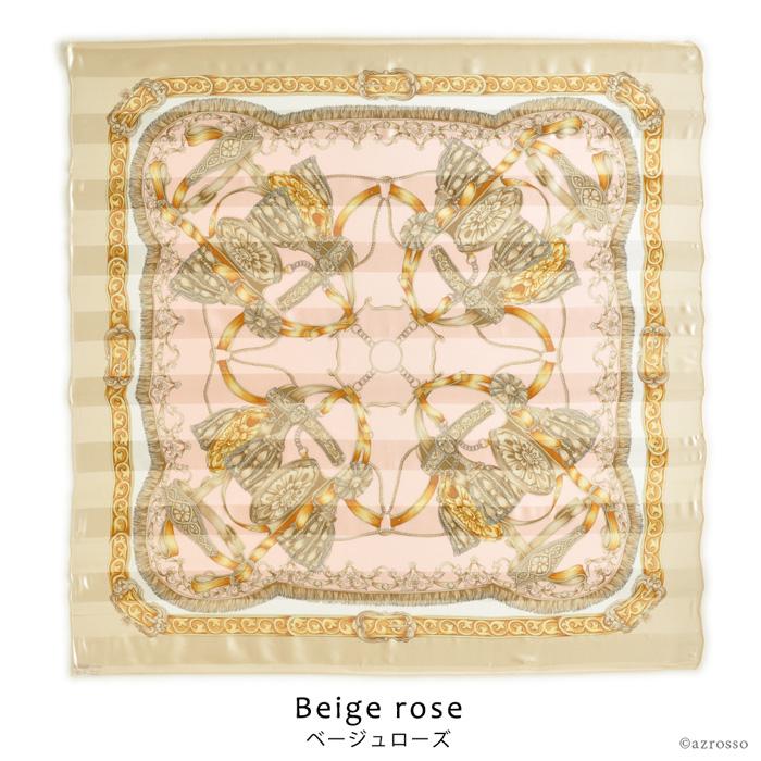 横浜スカーフ ブライドルホース モデル着用写真 ベージュローズウエストベルト巻き