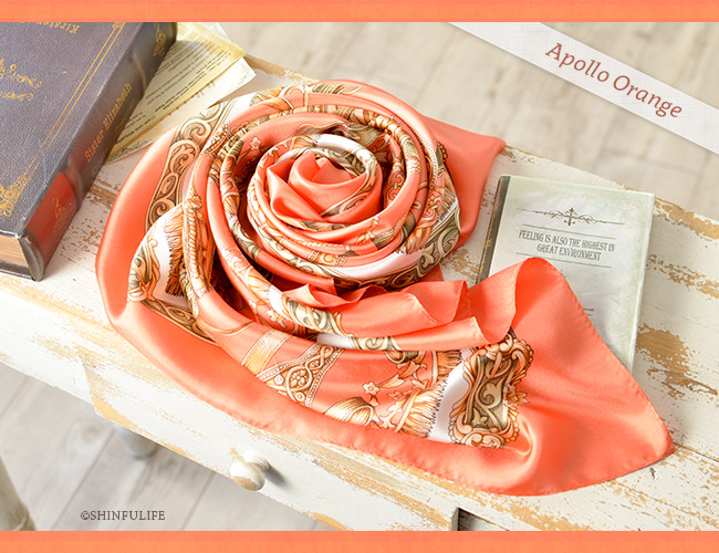 くつわエルメス ツイル 横浜スカーフ 正方形 大判 88x88 シルク100%  日本製  シルクスカーフ 制服 スーツ ジャケット 敬老の日 母の日 誕生日 プレゼント 送料無料 オレンジ