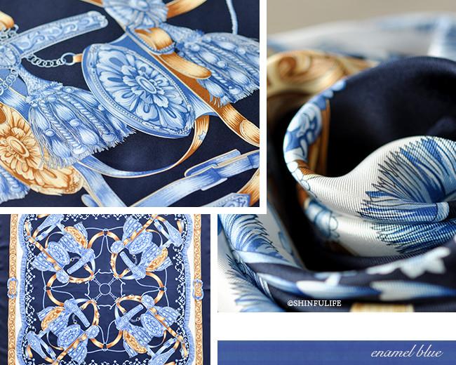 くつわエルメス ツイル 横浜スカーフ 正方形 大判 88x88 シルク100%  日本製  シルクスカーフ 制服 スーツ ジャケット 敬老の日 母の日 誕生日 プレゼント 送料無料 ブルー