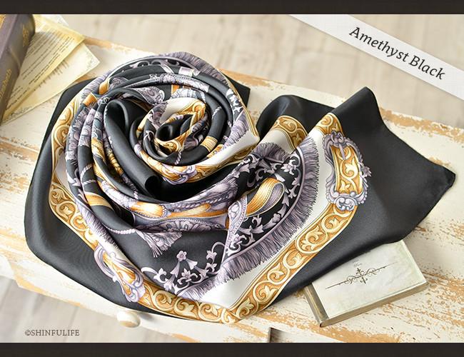 くつわエルメス ツイル 横浜スカーフ 正方形 大判 88x88 シルク100%  日本製  シルクスカーフ 制服 スーツ ジャケット 敬老の日 母の日 誕生日 プレゼント 送料無料 ブラック