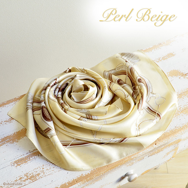 シンプルエルメス シルク スカーフ ツイル 日本製 88x88 大判  正方形 エルメス 柄 シルク100% ブランド バッグ 帽子 ベルト 横浜スカーフ プレゼント 母 母の日 敬老の日 女性 誕生日 義母 義理の母 パールベージュ