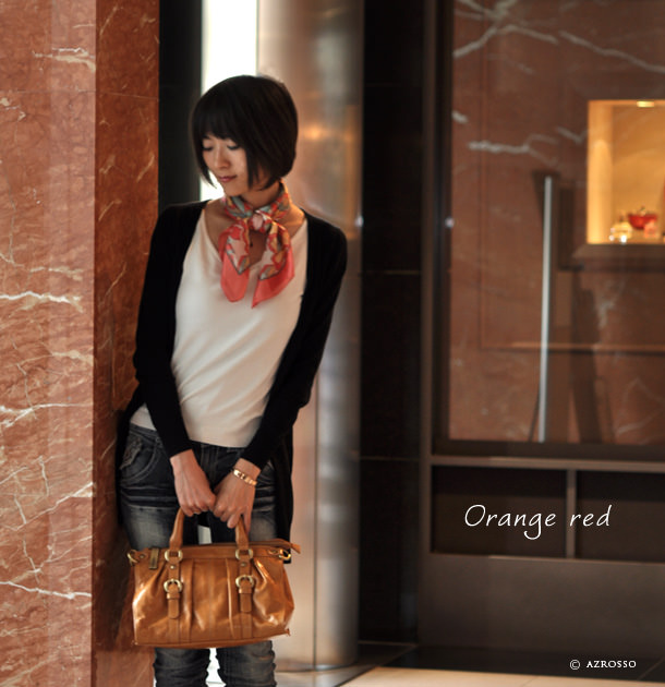 横浜スカーフ ハナポップ オレンジレッド