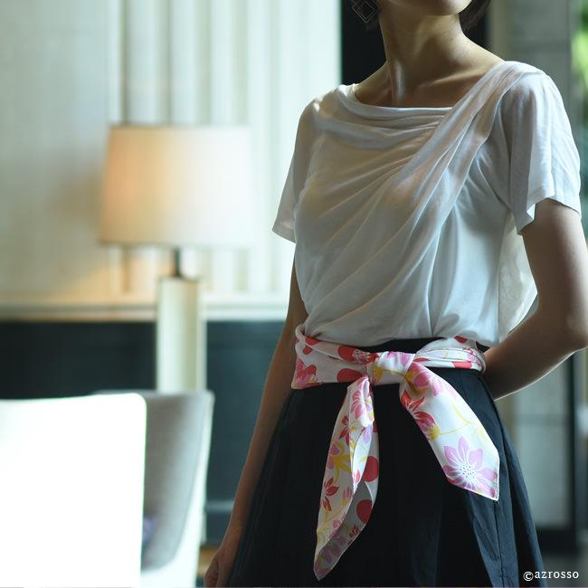 .Y(ドットワイ) フローラルポルカドット 88x88 シルクツイル 横浜スカーフ花柄 水玉柄 正方形 フラワー シルク100% ブランド 日本製 母の日 誕生日 プレゼント 結婚式 カラーバリエーション