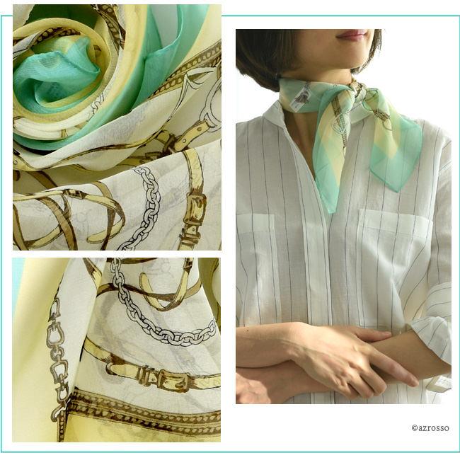 横浜スカーフ ブリティッシュベルト ヒーリンググリーンのモデル写真