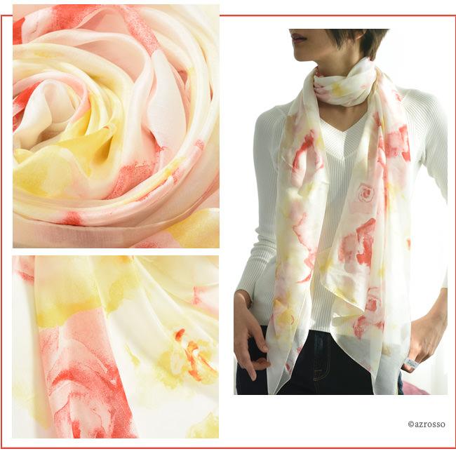 横浜スカーフ ブライトローズ ローズベージュのモデル写真