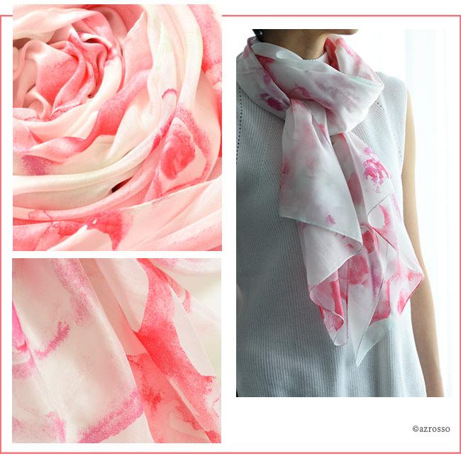 横浜スカーフ ブライトローズ ローズピンクのモデル写真