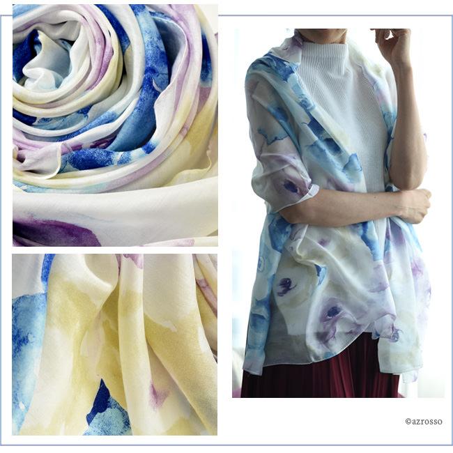 横浜スカーフ ブライトローズ ローズブルーのモデル写真