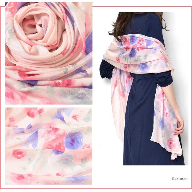 横浜スカーフ ローズシック ローズピンクのモデル写真