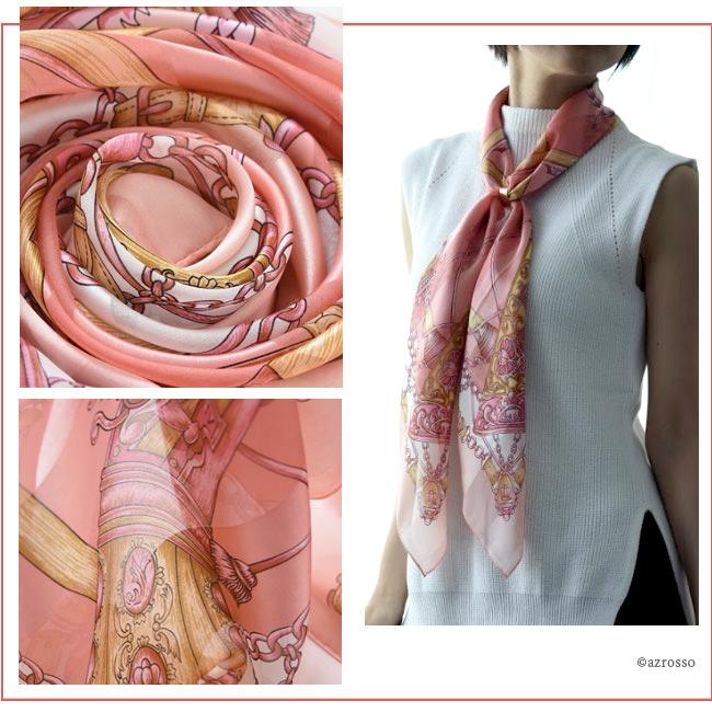 横浜スカーフ ガンエルメス ピンクのモデル写真