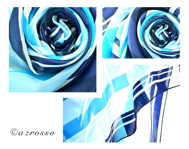 横浜スカーフ大判 ブルーの写真2