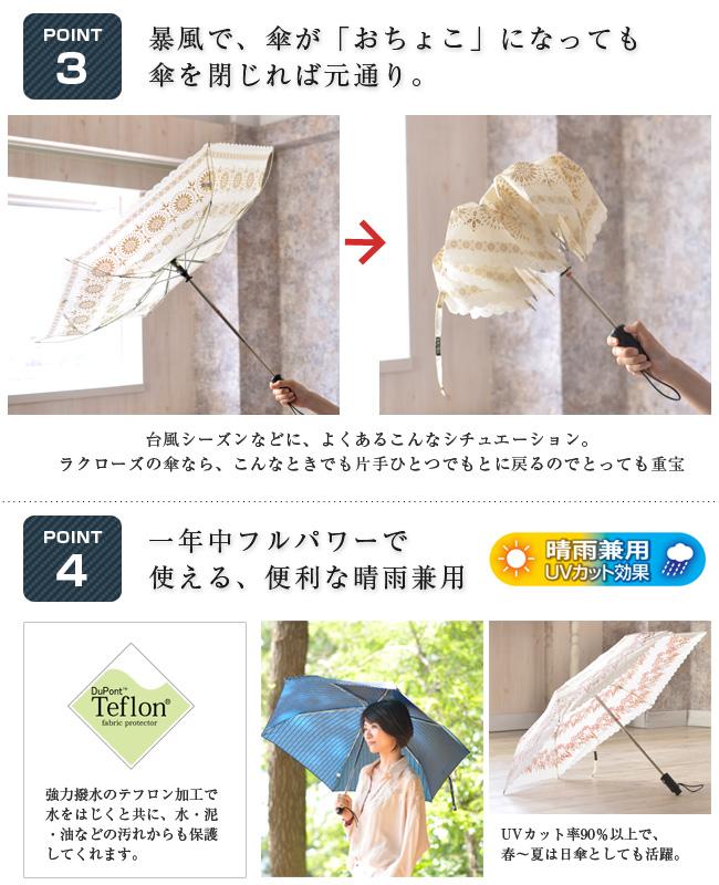 暴風で、傘が「おちょこ」になっても傘を閉じれば元通り/一年中フルパワーで使える便利な晴雨兼用