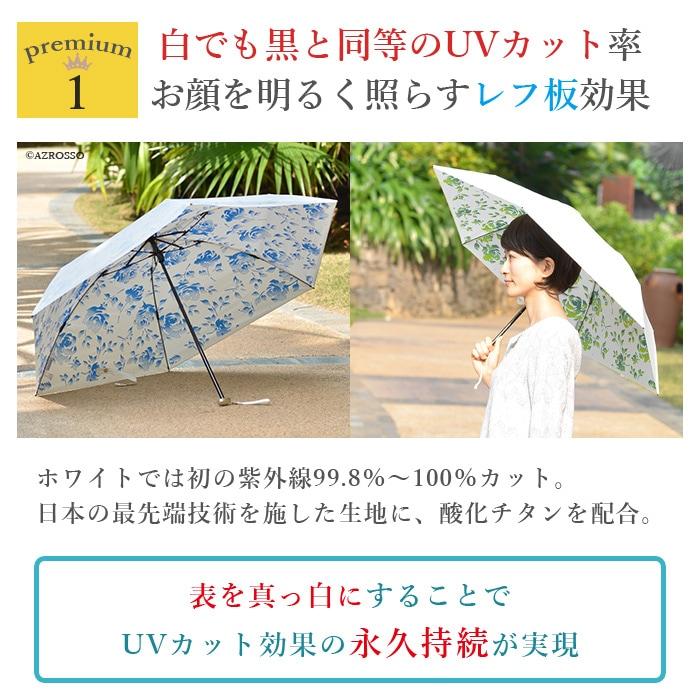 白でもUVカット率ほぼ100%雨でも晴れでも使えるさしているだけで木陰の涼しさ持ち歩き便利な超軽量125g