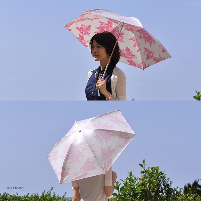 UVION プレミアムホワイト 折りたたみ日傘 白 ほぼUVカット率 100% 日本製 ブランド 軽い 軽量 遮熱 晴雨兼用 超軽量 ひんやりクールダウン/紫外線/完全遮光や1級遮光と違い瞳に負担をかけない折り畳み日傘 母の日 敬老の日 プレゼント モデル写真:アラベスクピンク