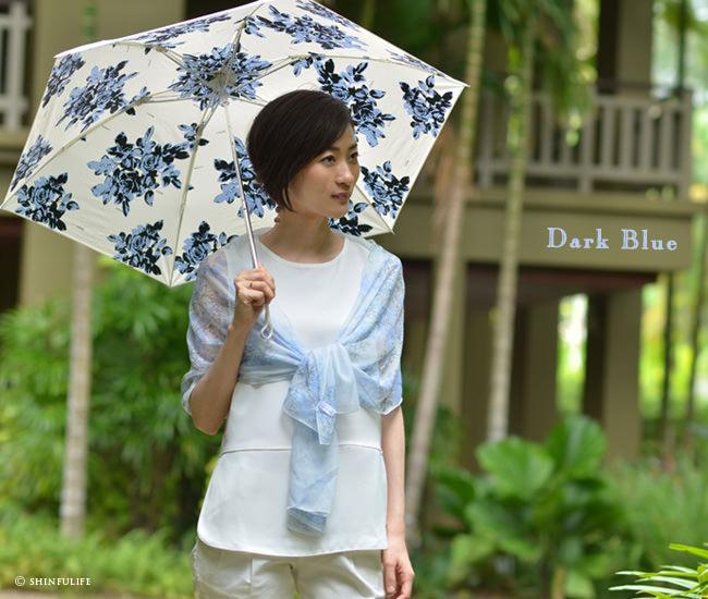 UVION プレミアムホワイト 折りたたみ日傘 白 ほぼUVカット率 100% 日本製 ブランド 軽い 軽量 遮熱 晴雨兼用 超軽量 ひんやりクールダウン/紫外線/完全遮光や1級遮光と違い瞳に負担をかけない折り畳み日傘 母の日 敬老の日 プレゼント モデル写真:ダークブルー