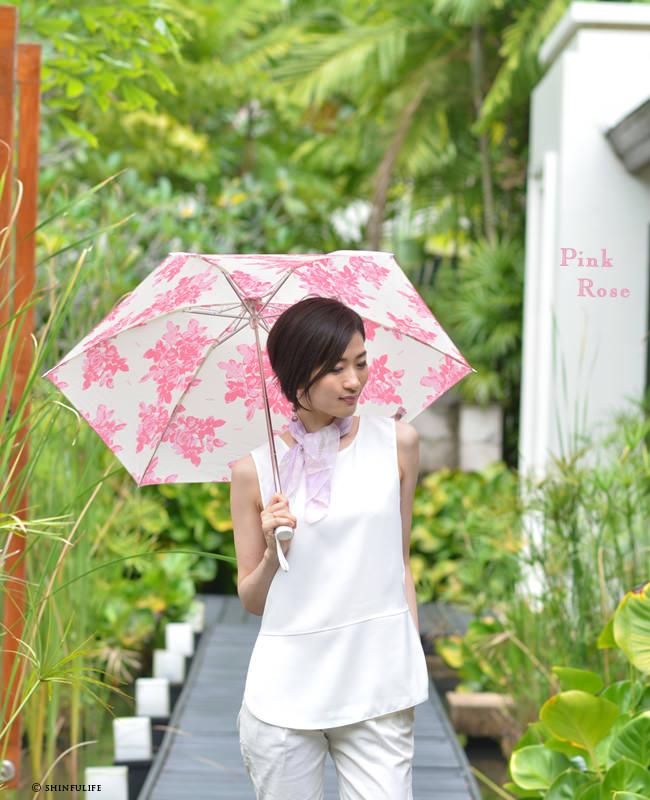 UVION プレミアムホワイト 折りたたみ日傘 白 ほぼUVカット率 100% 日本製 ブランド 軽い 軽量 遮熱 晴雨兼用 超軽量 ひんやりクールダウン/紫外線/完全遮光や1級遮光と違い瞳に負担をかけない折り畳み日傘 母の日 敬老の日 プレゼント モデル写真:ピンクローズ